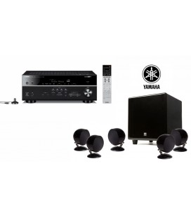 Receiver multicanal AV Yamaha MusicCast RX-V685 Black si Set boxe 5.1 surround Morel BEAT-X Piano Black