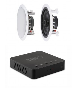 Set Sonorizare Receiver Stereo Wireless TIBO BOND 4, 2*25W RMS, Boxe incastrabile AMBIENTONE R1 - pereche